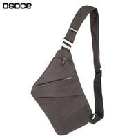 Wholesale Thin Male Body - OSOCE Men Nylon Crossbody Bags Male fino Messenger Bag Gray Men's Hidden Thin Sling Casual chest bag Shoulder Bags for men