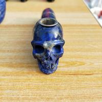 ingrosso blu guarisce-1 pz naturale blu sogno teschio al quarzo fumante Lapis Blue Stone point Wand sigaretta portatile tabacco curativo