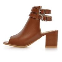 ingrosso tacchi di colore marrone-Plus Size 34-43 New Fashion Women Sandali Gladiatore Squre Heel Casual Scarpe da donna Colore solido Marrone Calzature femminili
