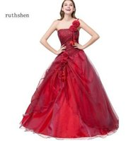 ruthshen Quinceanera Dresses 2018 sweet 16 Cheap One Shoulder Ruffles  Organza Flowers Debutante Quinceanera Gowns c8505f754e6d