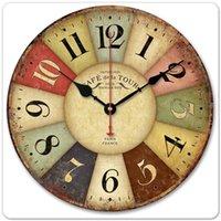 relojes decorativos para paredes al por mayor-Creativo Europeo Retro reloj de pared Ronda Vintage sala de estar Relojes decorativos de cuarzo Silencioso reloj de pared de madera Con estilo moderno reloj de pared