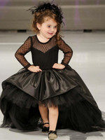 Wholesale long dresses for girls low resale online - 2019 Cheap Cute Flower Girls Dresses For Weddings Long Sleeves Lace Appliques Black Short High Low Bow Birthday Girl Communion Pageant Gowns