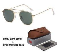 ingrosso imballaggio d'epoca-New Brand Designer occhiali da sole Donna uomo Vintage esagonale Square Occhiali da sole oculos de sol con astucci e astucci