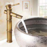 bambu musluklar toptan satış-Avrupa antika banyo lavabo havzası musluk retro, Bambu tarzı tek delik havza musluk vintage, Pirinç su dokunun sıcak ve soğuk