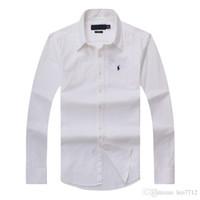 camisas de algodón puro de los hombres al por mayor-2018 nuevo otoño e invierno camisa de algodón de manga larga de los hombres puros casual de los hombres POLOshirt moda Oxford camisa marca social pequeña hor