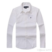 saf pamuk gömlek erkek toptan satış-2018 yeni sonbahar ve kış erkek uzun kollu pamuklu gömlek saf erkek rahat POLOshirt moda Oxford gömlek sosyal marka küçük hor