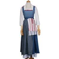 Wholesale Belle Beauty Beast Costumes Adults - 2017 Movie Beauty And Beast Live Dress Maid Belle Costume Cosplay Dresses Women Adult Halloween Party