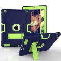 tablet koruması için durum toptan satış-Sıcak Zırh Kapak Ağır Silikon + PC Darbeye Korumak Hibrid Vaka Apple iPad2 3 4 Tablet + Stylus