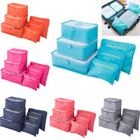 Wholesale travel laundry bags - Travel Luggage Storage Bag Set For Clothes Underwear Shoe Cosmetic Bags Bra New Pouch Bag Organizer Laundry Pouch 6pcs Set 8Color HH7-1300