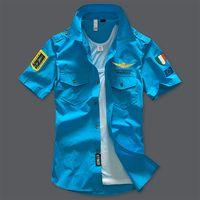 nakışlı gömlek bluz toptan satış-2018 Hava Kuvvetleri No 1 Pamuk Erkekler Kısa Gömlek Yeşil Ordu MA1 Gömlek Ordu Fan İşlemeli Gömlek Erkekler Yarım Kol Bluz