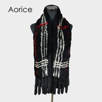 Wholesale genuine rabbit scarf for sale - Group buy Pudi SF727 women knitted Rex Rabbit fur scarf brand new genuine fox fur long scarves wraps