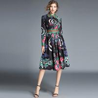 elbise çiçek polyester toptan satış-Yüksek Kalite Moda Tasarımcısı Pist Elbise 2018 Sonbahar kadın Uzun Kollu Çiçek Baskılı İnce Zarif Pilili Elbise