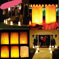ingrosso sacchetti di tè leggeri-Wedding Heart Tea Light Holder Buon compleanno Lanterna di carta Portacandele Home Festa romantica Festival Xmas Decorazione HH7-1354