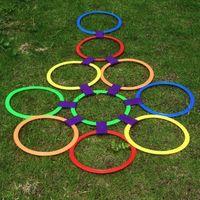 atlama çocukları toptan satış-Çocuklar Açık Arkadaşlar ile Atlama Halkası Oyunları Spor Oyuncak Hopscotch Izgara Atlamak için Çocuk Duyusal Entegrasyon Eğitim Oyunu 38 cm