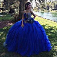 concurso para la venta al por mayor-Venta caliente Royal Blue Ball vestido de quinceañera vestidos con apliques de encaje Sweet 16 Pageant Prom vestidos Vestidos de fiesta Vestidos de desfile