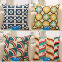 Wholesale linen cotton sofa fabric for sale - Group buy New Design Linen Fabric Geometric Patterns Cushion Cover Pillowcase Pillow Case Floral Christmas Decoration Sofa Living Room x45CM