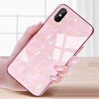 ingrosso iphone hard case-Caso marmo vetro temperato dura della copertura del telefono per Apple I Phone 10 copertura per abitazioni iPhone 8 Plus 7 10 X Caso antiurto