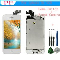Wholesale camera lcd screen replacement - Best AAA quality for iPhone 5 5C 5S LCD touch Replacement screen digitizer Full set Assembly White black Front Camera + Home Button +Tool