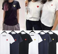Wholesale Half Color Shirt - Chao brand play leisure pure cotton small red heart short sleeved women's pure color black heart love male white T-shirt couple half sleeves