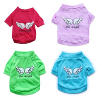 Wholesale clothes wings for sale - Durable Dog T Shirts Cotton Wing Letter The Angel Pattern Puppy Clothes For Summer Pet Clothing Vest Hot Sale cyb4 B