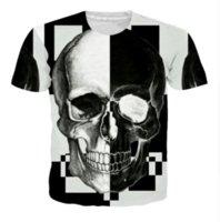 camisa de la cabeza del cráneo 3d al por mayor-Venta al por mayor-más nueva moda para hombre / para mujer estilo del verano Hipster cabeza del cráneo divertido 3D imprimir camiseta ocasional D0X0046