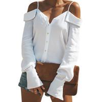 d2dd893232c10c langärmelige weiße blusen tops großhandel-Sexy Schulterfrei Bluse Frauen  Knöpfe Blusen Slash Neck Tops Femme