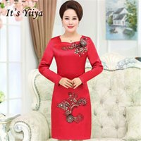 It s Yiiya Mother of the Bride Dresses Long Sleeve Embroidery Appliques Slim  Plus Size A-Line Elegant Mother Dress M033 a49d75e1da00