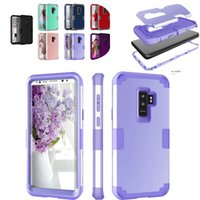 Wholesale galaxy note colors - Dual Colors Hard Case for Samsung Galaxy S9 8 Plus Note 8 Three Layers TPU PC Full Protective Shockproof Back Cover For iPhone X 8 7 6