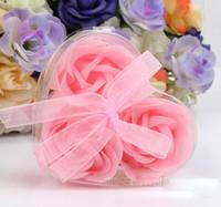 ingrosso sapone fiore fatto a mano-3pcs / scatola sapone fatto a mano rosa con forma di cuore regalo scatola di fiori di simulazione fiore di carta sapone San Valentino festa di compleanno regali