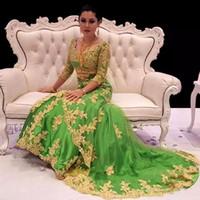 robe arabe sirène achat en gros de-2019 Marocaine Sirène Caftan Dubaï Caftan Robe Trois-quarts Manche Robe De Soirée Saoudienne Arabe Robes De Bal formelle PartieDresse