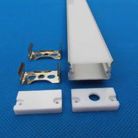 cubierta de perfil de tira de led al por mayor-Canal de perfil de aluminio LED de envío gratuito con tapas de extremo de cubierta de PC y clips de montaje para tira de LED 2 m / pcs 40 m / lote