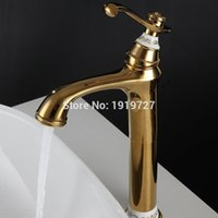 Wholesale White Bathroom Taps - 100% High Quality Bathroom Sink Faucet Professional Household Wels Vessel Mixer Tap In Golden Chrome White ORB Oil Rubbed Bronze