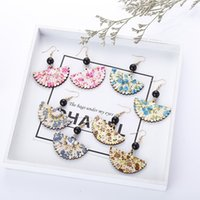 Wholesale Fans Asian - 4 Colors Fan-Shaped Earrings Exaggerated Color Fan Pearl Earrings Temperament Female Fashion European And American New Earrings Wholesale