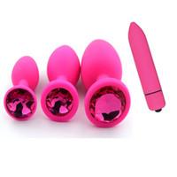 ingrosso bullet dildo-Spedizione gratuita silicone spina anale gioielli dildo vibratore giocattoli del sesso per la donna massaggiatore della prostata proiettile vibrador butt plug giocattoli erotici