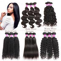 Wholesale virgin hair brazilian vendor - New Arrivals Raw Indian Virgin Hair Straight Body Deep Water Wave Kinky Curly Human Hair Weaves Bundles 3 4 Brazilian Hair Vendor Extensions