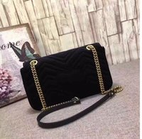 Wholesale Italian Totes - Marmont velvet bag women famous brand shoulder bags real leather chain crossbody bag winter fashion handbags Italian luxury women bags#K14