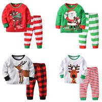 ef373a4d49db3 Baby Christmas Pajama Outfits Santa Claus Moose Elk Cartoon Printed Deer  Nose Autumn Winter Home Designer Clothes Boys Girls Clothing Sets