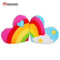 Wholesale plush couple doll - 45cm*38cm South Korea love heart rainbow clouds couple plush cushion   pillow birthday gift wedding Gift Doll