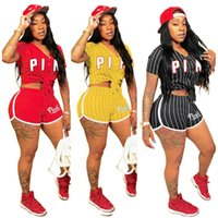 Wholesale wholesale sexy clothing - Pink Letter Striped Baseball Clothing Summer women Shorts Set Tracksuit T Shirt Crop Top with Shorts Outfits Sexy Sports Clothes S XL