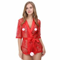 Wholesale see through robes online - Women Robe Satin Lace Sleepwear Sexy Lingerie See Through Nighty Short Sleelve Sleepwear Bedroom Wear With Matching G string