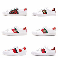 Wholesale cotton printed fabric - Mens designer luxury shoes Casual Shoes white women sneakers good embroidery bee cock tiger dog fruit on the side with OG box