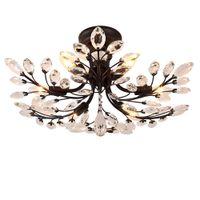 Wholesale art villages - American village led chandeliers light fixtures iron crystal ceiling lamp 6 heads black chandelier indoor lighting