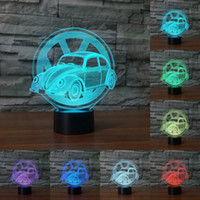 Wholesale Acrylic Light Sign - Creative car sign 3D light Night Light 7 Color Change Acrylic LED Table Lamp USB Bedroom as Gift for Decoration lighting