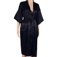 männer sexy schwarze seide großhandel-Heißer Verkauf Schwarze Männer Sexy Faux Silk Kimono Bademantel Kleid Chinesischen Stil Männlichen Robe Nachthemd Nachtwäsche Plus Größe S M L XL XXL XXXL