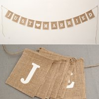 Wholesale burlap garland - Jute Rope Flax Wedding Photo Props Banner Jute Burlap Bunting Just Married Rustic Garland Party Wedding Decoration