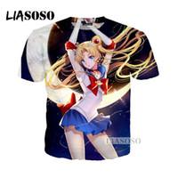 anime de la luna del marinero al por mayor-LIASOSO el verano pasado camiseta de las mujeres de los hombres anime Sailor Moon mes marinero impresión 3D camiseta casual top marca de ropa W029