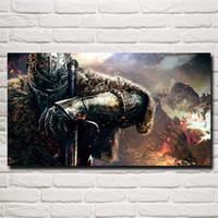 ingrosso anime scure-FOOCAME Dark Souls Warrior Spada Videogiochi Art Silk Poster Stampa Home Decorazioni per pareti Pittura 11x20 16x29 20x36 pollici