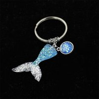 Wholesale color changing pendant - Decoration Mermaid Keychains Gradually Changing Color Tail Keyring Holder Purse Bag Buckle Pendant For Car Fashion Accessories 2 5wb Y