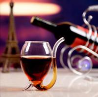 paja única al por mayor-Copa de vino 300ml blanco con tubo de paja regalo Cocina creativa única vasos de vino cocina, barra de comedor