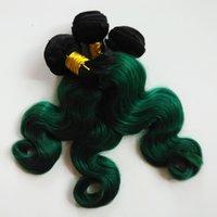 ingrosso piume brasiliane-Le ombre delle donne vergini brasiliane dell'estensione dei capelli della piuma delle donne tessono sexy 1B / verde Two tone 8-28inch trama umana remy indiana non trattata